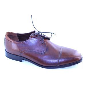 Tasso Elba Brown Leather Lace Up Dress Oxfords 10M